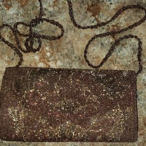 Brown beaded formal boutique purse